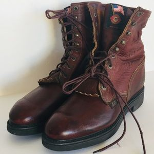 Justin Leather Work Boots 10.5